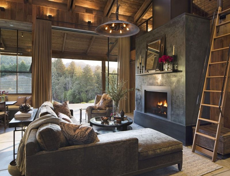 rustic living room with gray velvet sofa