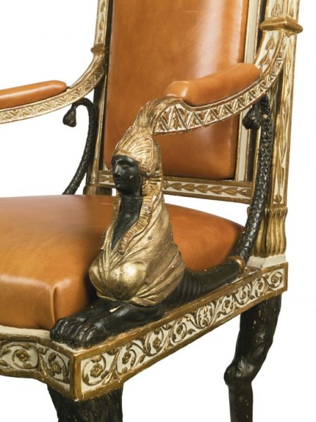 Empire Style Gilt-Bronze Painted and Parcel Gilt Mahogany Console The later mottled rectangular marble top above a frieze inset with three drawers, r…