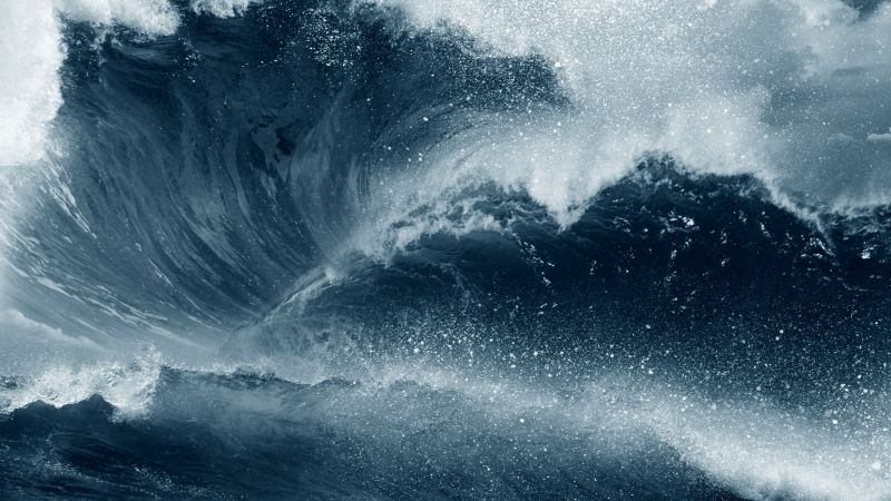 waves, water, ocean, blue, 5K (horizontal)