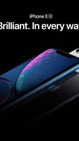 iPhone XR, blue, black, white, smartphone, Apple September 2018 Event (vertical)